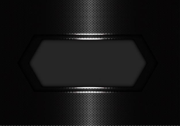 Zilveren zeshoek banner luxe. Premium Vector