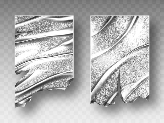 Zilverfolie, verfrommelde textuur met gerafelde rand Gratis Vector