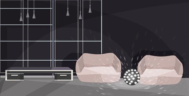 Zithoek met fauteuils en lamp moderne kantoor interieur schets Premium Vector