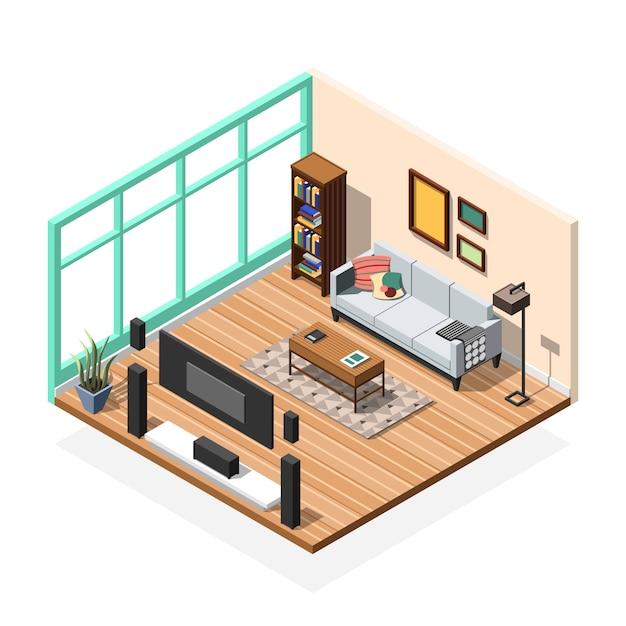 Zitkamer appartement interieur Gratis Vector