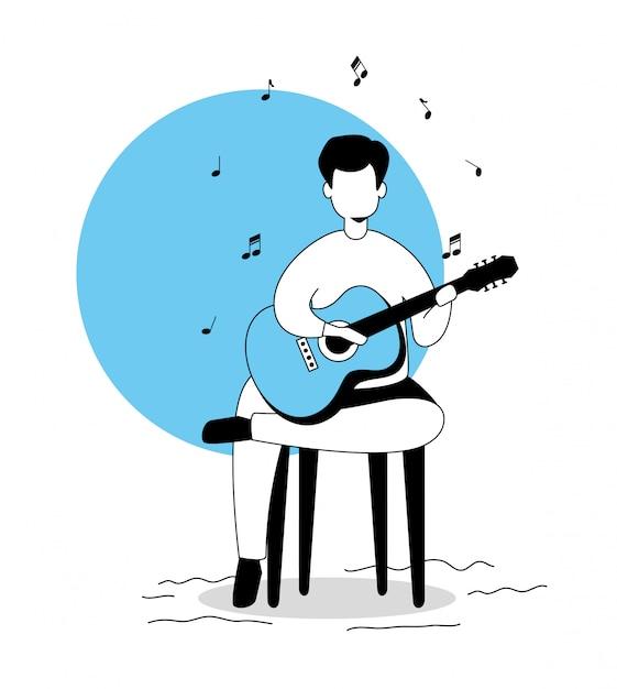 Zittende man gitaar spelen Gratis Vector