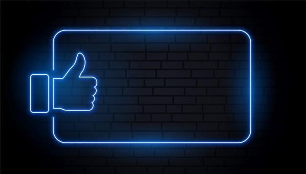 Zoals duim in blauwe neonstijl met tekstruimte Gratis Vector