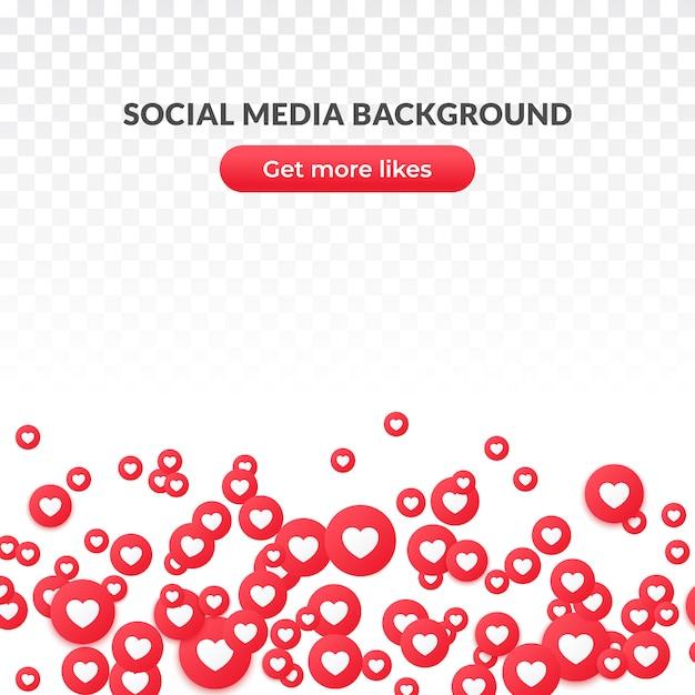 Zoals hart pictogramachtergrond of banner, rood rond symbool voor sociale media. Premium Vector