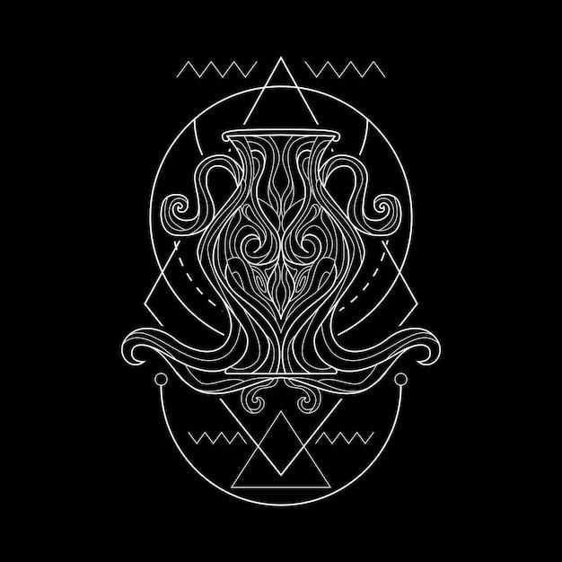 Zodiac aquarius geometri style Premium Vector