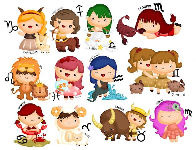 Zodiac horoscope vector set Premium Vector