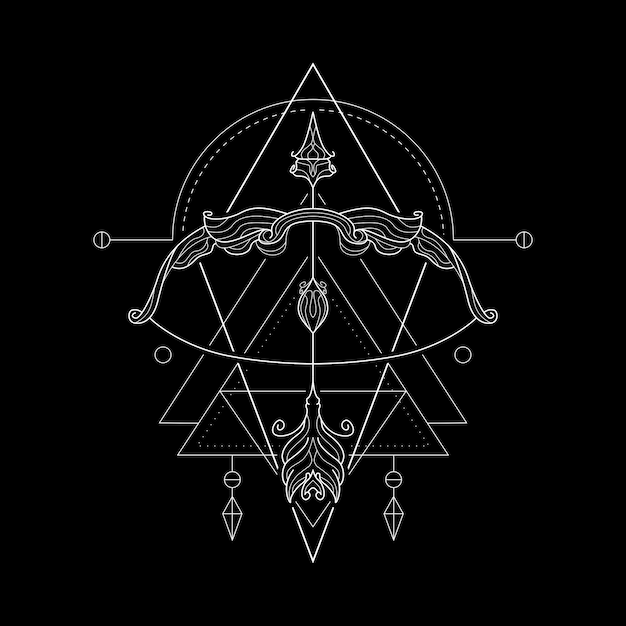 Zodiac sagittarius geometri style Premium Vector