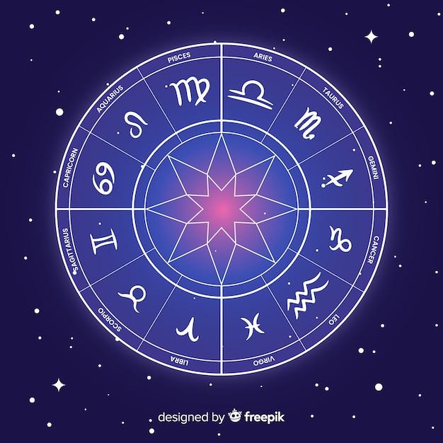 Zodiac-wiel op een ruimteachtergrond Gratis Vector