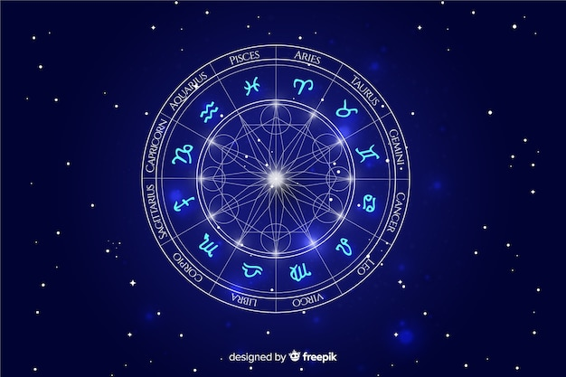 Zodiac-wiel op ruimteachtergrond Premium Vector
