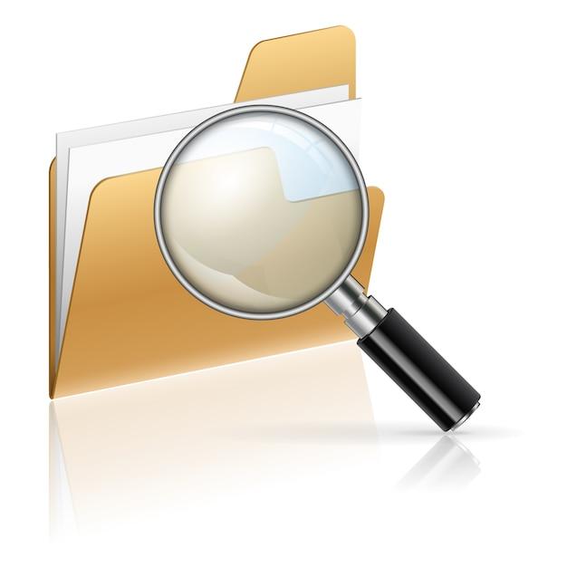 Zoek bestanden in een map Premium Vector