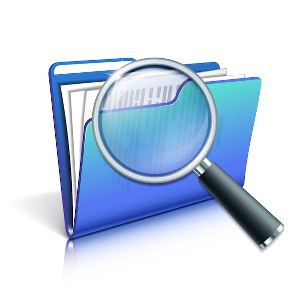Zoek concept met vergrootglas over de blauwe map op witte achtergrond. illustratie Premium Vector