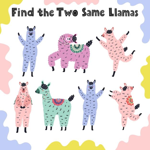 Zoek de twee dezelfde lama's. educatief activiteitenspel voor peuters. werkblad voor peuterspeelzalen voor kinderen. illustratie Premium Vector