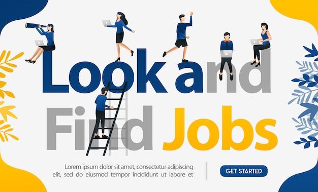 Zoek en vind banen voor posterwerken en de illustratie van de bestemmingspagina Premium Vector