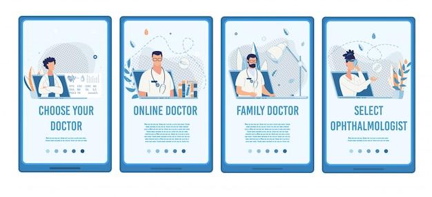 Zoek medisch specialist mobiele sociale media Premium Vector