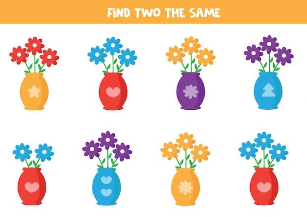 Zoek twee dezelfde bloemen in vaas. Premium Vector