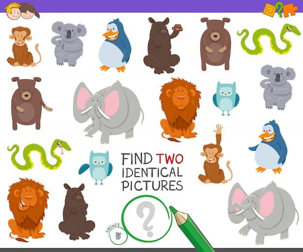 Zoek twee identieke dieren educatief spel Premium Vector