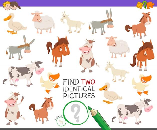 Zoek two identical pictures game met landbouwhuisdieren Premium Vector