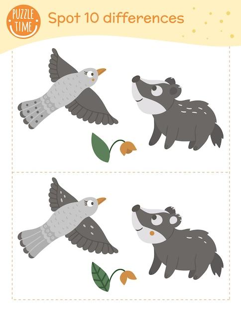Zoek verschillen spel voor kinderen. voorschoolse activiteit met vliegende vogel en babydas. puzzel met dieren. leuke grappige lachende karakters. Premium Vector