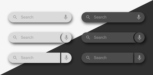Zoekbalksjabloon met spraakpictogram of zoekvakken ui met schaduw Premium Vector