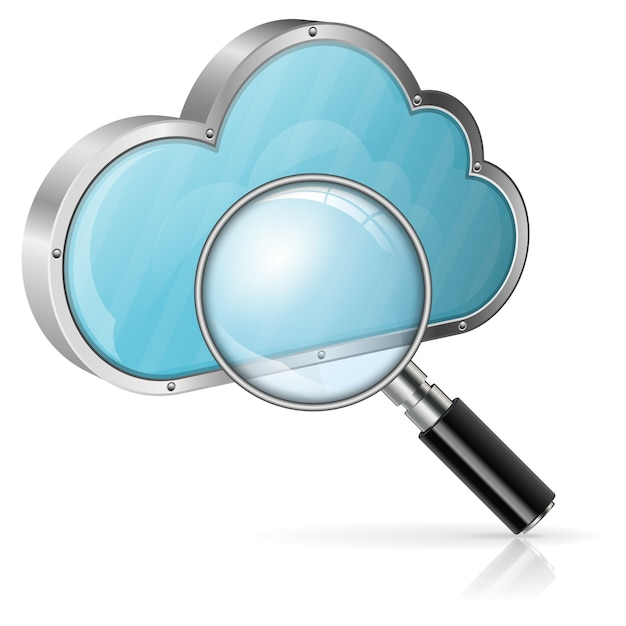 Zoeken in cloud computing concept Premium Vector