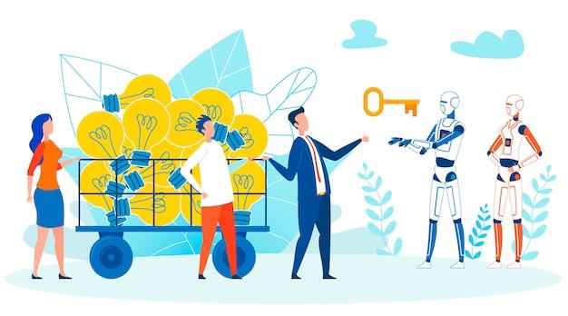 Zoeken naar het concept van de idee-implementatie Premium Vector