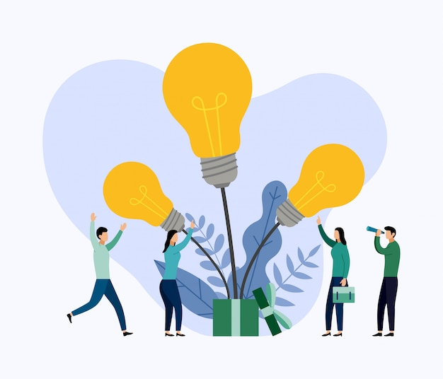 Zoeken naar nieuwe ideeën, vergaderen en brainstormen Premium Vector