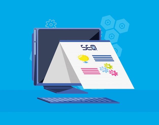 Zoekmachineoptimalisatie met desktop Premium Vector