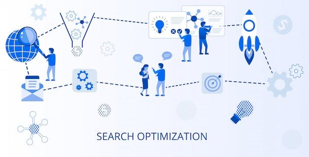 Zoekoptimalisatie online advertising flat banner Premium Vector