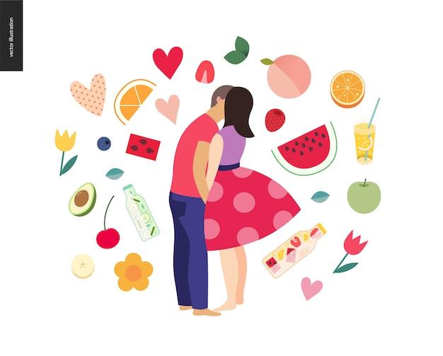 Zoenende scène - vlakke beeldverhaal vectorillustratie van jong paar, vriend en meisje, het kussen op strand, romantische scène met vruchten Premium Vector