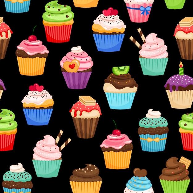 Zoet cupcakes kleurrijk patroon op zwarte achtergrond. Premium Vector