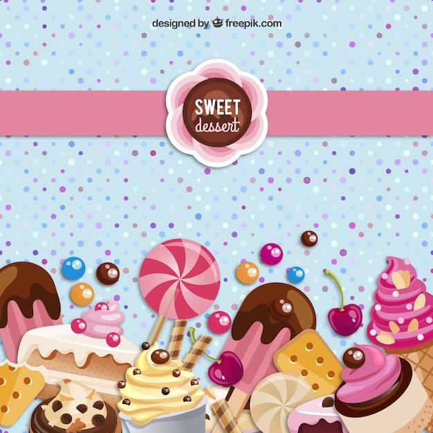Zoet dessert achtergrond Gratis Vector