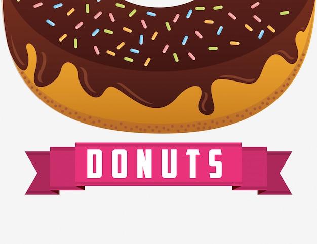 Zoet half donuts etiket Gratis Vector