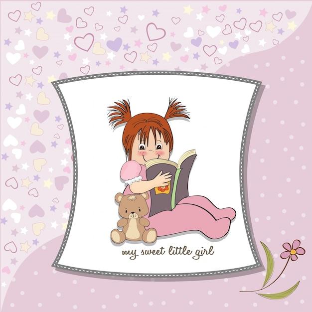 Zoet meisje dat een boek leest Gratis Vector
