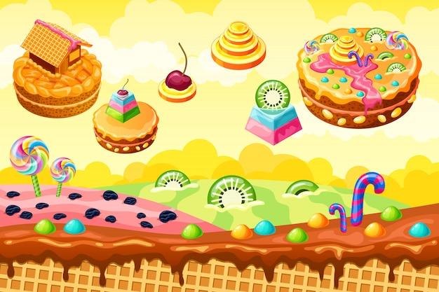 Zoet snoepland. cartoon spel illustratie Premium Vector
