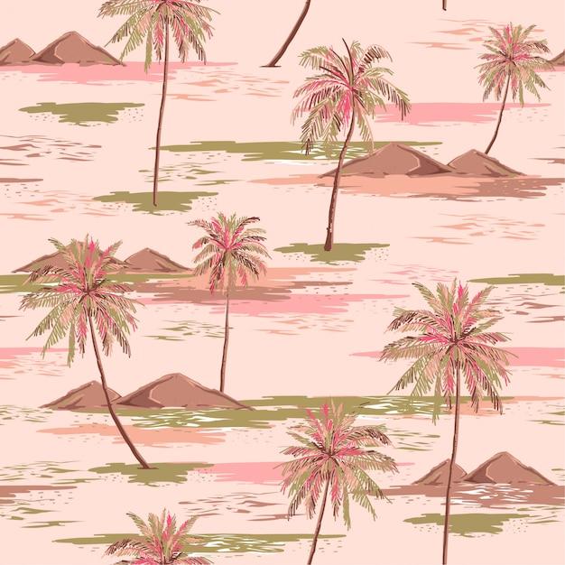 Zoet zomer naadloos eiland patroon landschap met kleurrijke palm Premium Vector