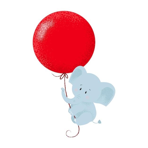 Zoete babyolifant die hangen aan luchtballon Gratis Vector