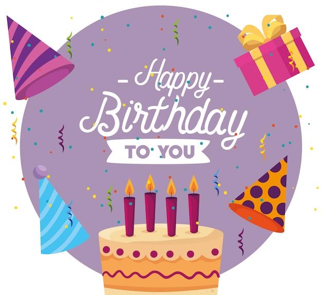Zoete cake met kaarsen en huidige geschenken Gratis Vector