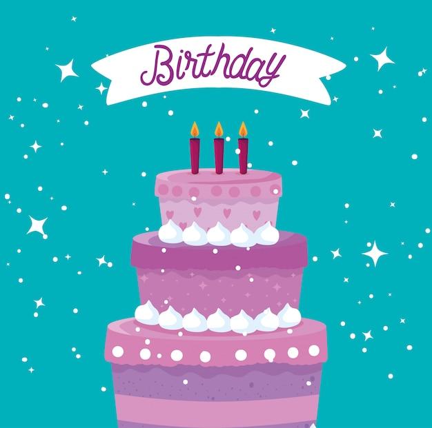 Zoete cake met kaarsen en lint tot gelukkige verjaardag Gratis Vector