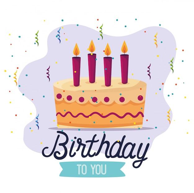 Zoete cake met kaarsen en lintdecoratie Gratis Vector