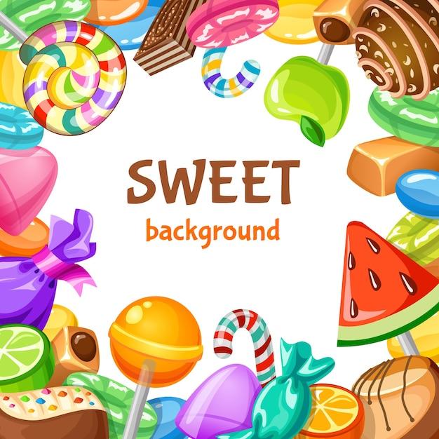 Zoete candy achtergrond Gratis Vector