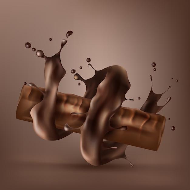 Zoete chocoladereep met spiraal gesmolten chocolade Gratis Vector