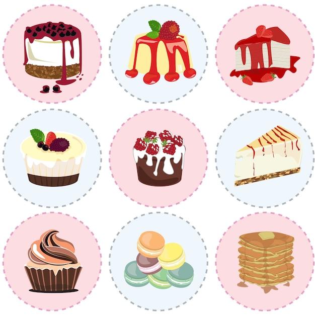 Zoete dessert pictogram vector Premium Vector