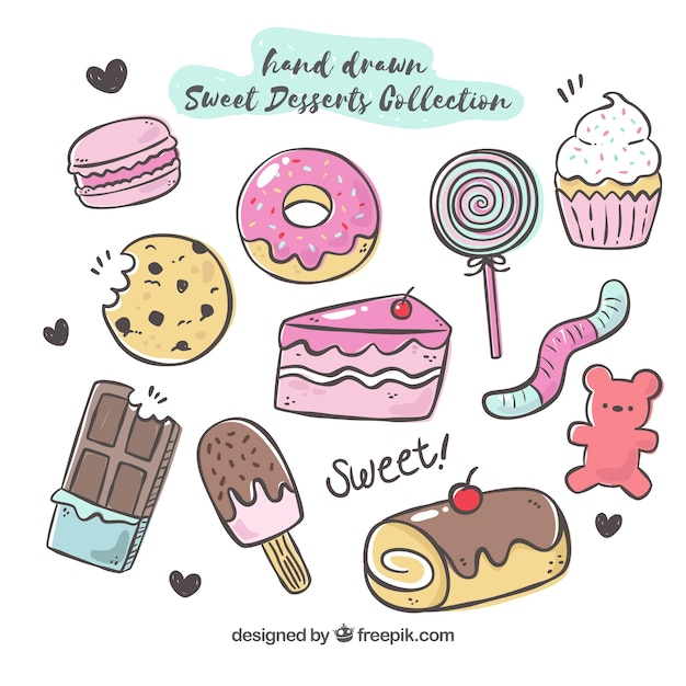 Zoete desserts collectie in de hand getrokken stijl Premium Vector