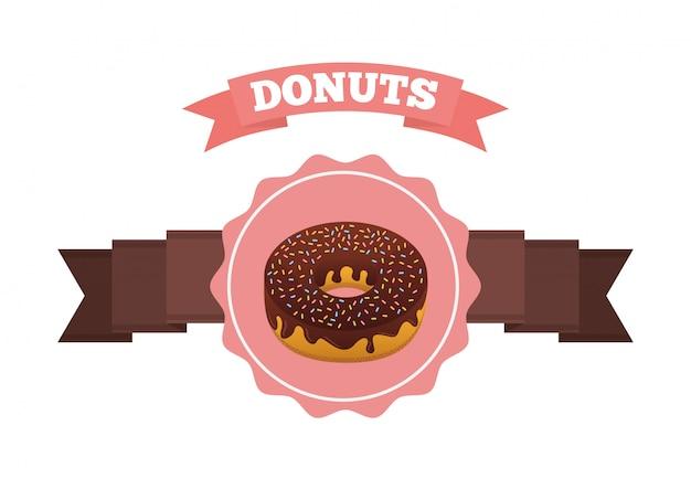 Zoete donuts label met lint Gratis Vector