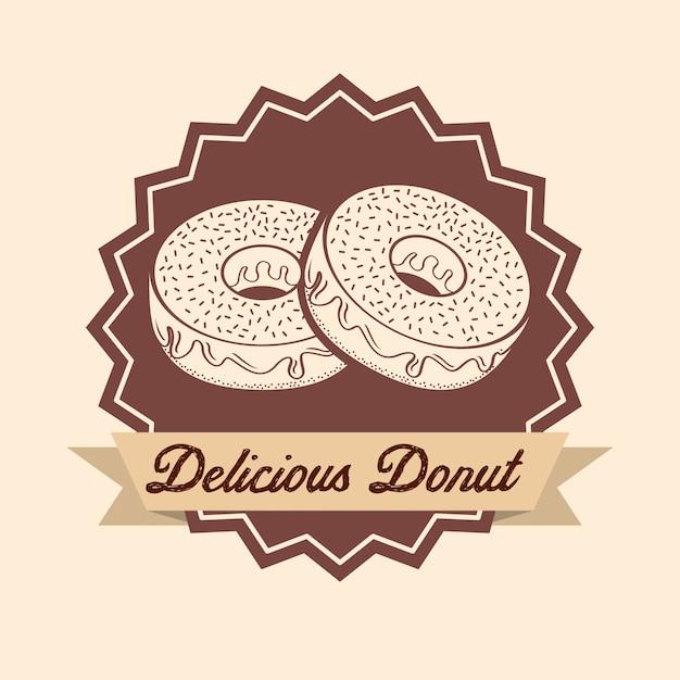 Zoete donuts label Gratis Vector