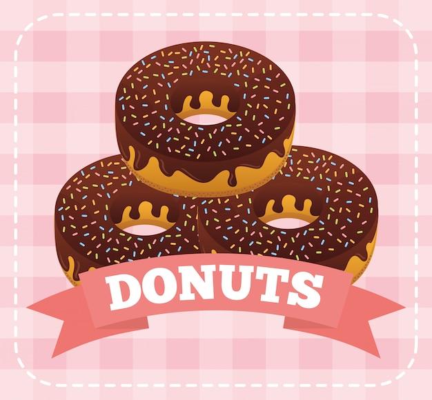 Zoete donuts op vierkant roze Gratis Vector