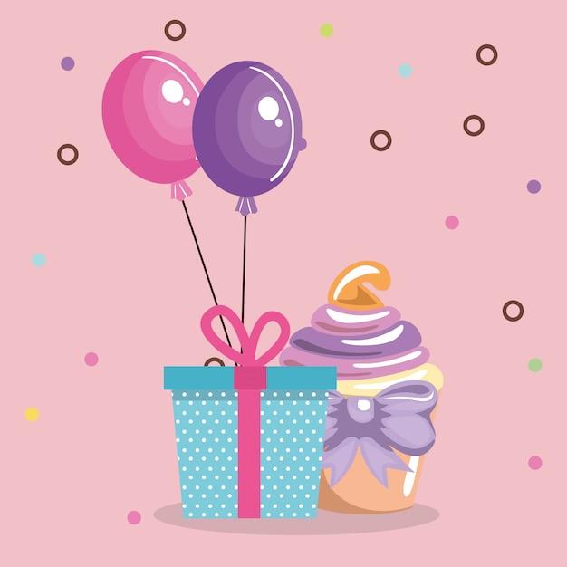 Zoete en heerlijke cupcake met cadeau en ballonnen Gratis Vector