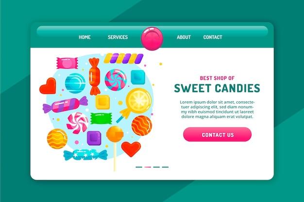 Zoete kleurrijke snoepjes bestemmingspagina Gratis Vector