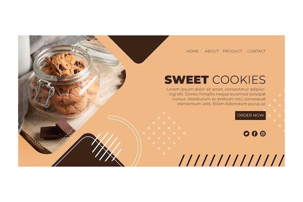Zoete koekjes bestemmingspagina Gratis Vector