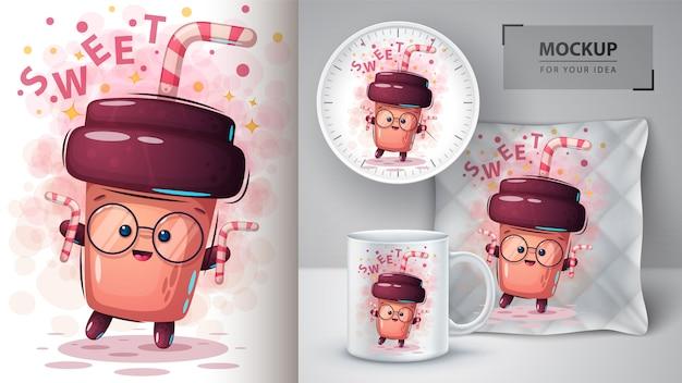 Zoete koffieposter en merchandising Premium Vector