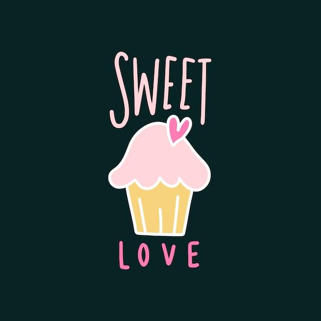 Zoete liefde schattige cupcake vector Gratis Vector